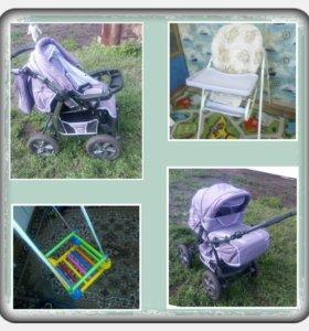 Коляска (+столик, качель) Baby-Merc зима-лето 0+