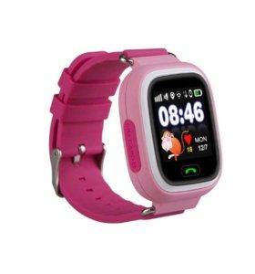 Детские розовые часы Q90