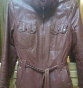 Куртка кожаная на меху из натурального меха