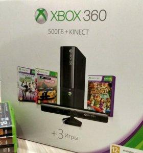 XBOX 360 E 500GB Kinect + 25 игр