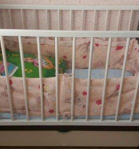 Кроватка детская+матрас(какос)+бортики.Торг.