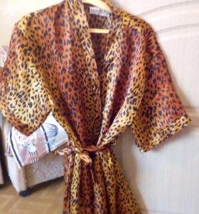 Сорочка с халатом,леопард