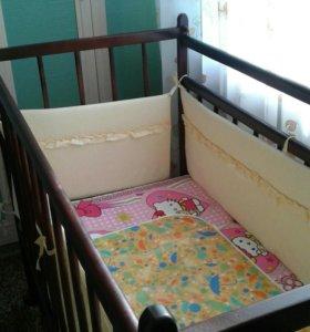 Кроватка детская, матрац, бортик