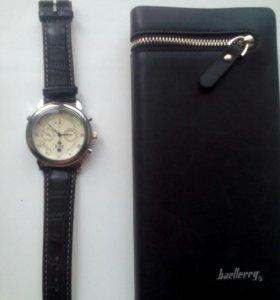 Часы мужские,кварцевые новые+клатч