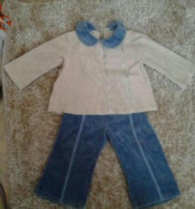 Вельветовый костюмчик на девочку до 1.5 лет