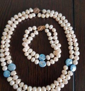 Ожерелье и браслет. Натуральный жемчуг.