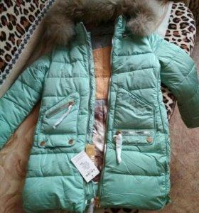 Новая зимняя курточка на девочку, на рост 146-152