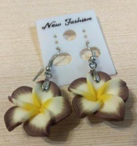 Серьги - цветы, полимерная глина, Тайланд
