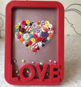 Подарок для любимых! Сердце из пуговиц