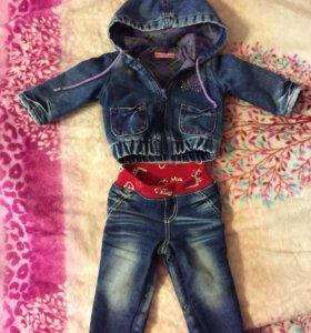 Джинсовый костюм 6-9 месяцев