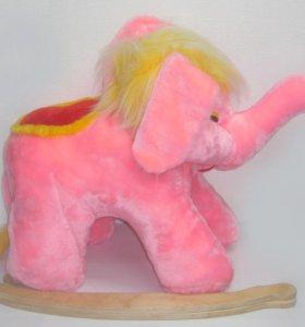 НОВАЯ Качалка. Детская качалка, Слоник, розовый.