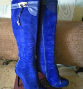 Сапоги замшевые синие