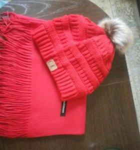 Женская шапка, женский шарф, комплект.