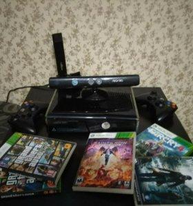 Xbox 360 + Kinect + 2 беспроводных джойстика+ игры