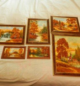 Картины с янтарной крошкой .
