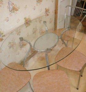 Стеклянный Стол и 4 стула