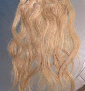 Пряди волосы натуральные на заколках
