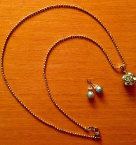 Комплект из серёжек и цепочки с подвеской