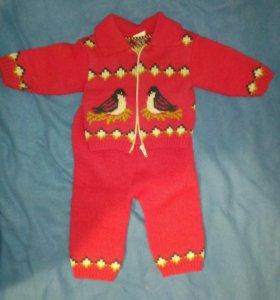 Детский вязаный теплый костюм