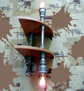 Полка-светильник лофт / loft из водопроводных труб