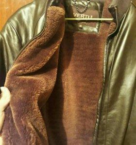 Коженная куртка теплая