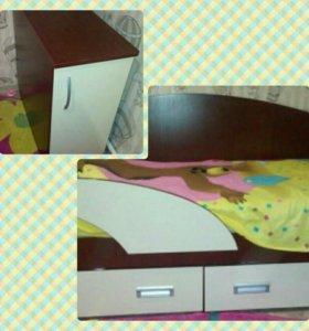 Кровать детская (с матрацем)+тумбочка