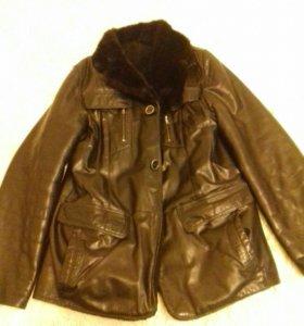 Куртка кожаная на натур. меху с норковым воротнико
