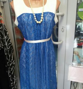 Платья новые гипюр и шелк р 48