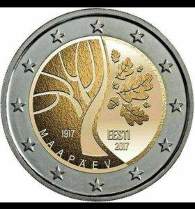 2 евро Эстония 100 лет независимости