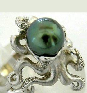 Серебряное кольцо, Осьминог,р.17