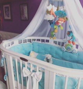 Комплект в кроватку голубая жемчужина
