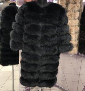 Шуба-трансформер 90 см песец цвет Черный соболь