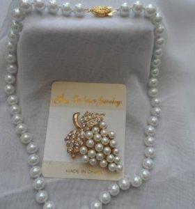 Ожерелье жемчуг 8мм+ брошь