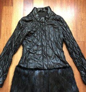 Кожаное пальто с мехом (кожа и мех натуральные))