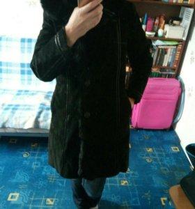 Пальто зимнее замшевое