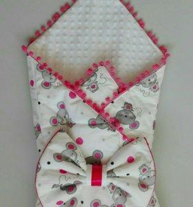 Конверт - плед - одеяло для новорожденного. Новый.