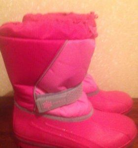 Сапожки розовые р. 37-37,5 с тёплым носочком.