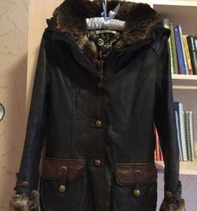 Куртка кожаная утеплённая размер 40-42