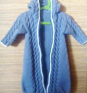 Вязаный спальный мешочек для малыша (0-6 мес)