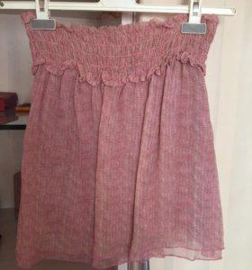 Стильная Юбка maxco, шёлк, розовая, 42р