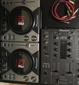 Pioneer DJM-400 и 2*Pioneer CDJ-400
