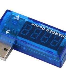 USB тестер напряжения и тока, синий charger doctor