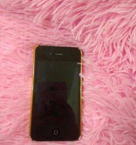 Iphone 4 с чехлом,западает кнопка домой,чёрный.