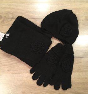 Шерстяной комплект шапочка, перчатки, шарф Calipso