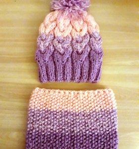 Новый зимний комплект (шапка+снуд),свяжу на заказ
