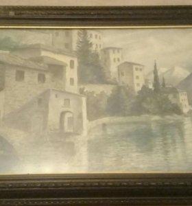 Картина старинная акварель