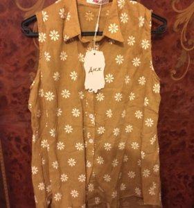 Блузка с ромашками 44-46 без рукавов новая