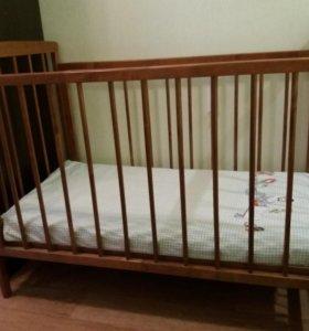 Детская кроватка с ортопедическим матрасом+подушка