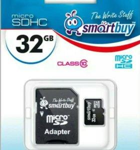 Карта памяти SmartBuy microSDHC 32Gb Class 10 + ad