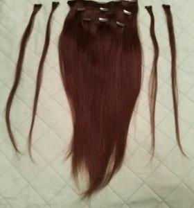 Натуральные волосы на заколках (трессы)